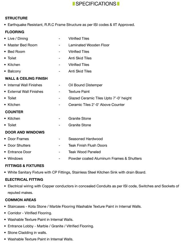 Casa Greens  Specifications